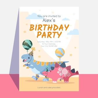 恐竜の誕生日パーティーの招待状のテンプレート
