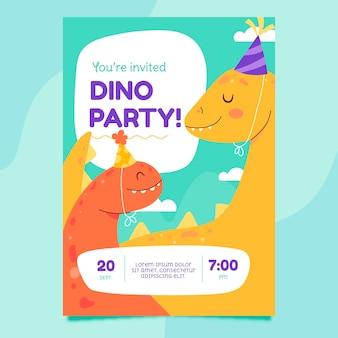 恐竜の誕生日の垂直招待状テンプレート