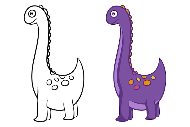 Dinosaur. black and white vector illustration for coloring. children's educational game. vector, flat cartoon style.