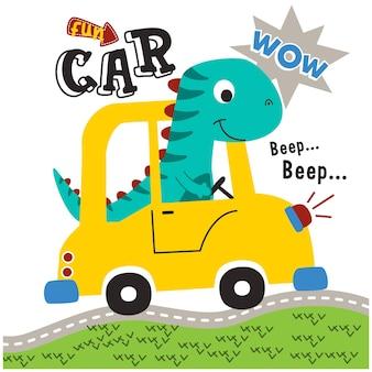 Dinosaur on the car funny animal cartoon