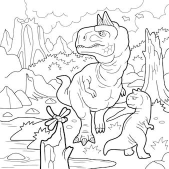 Dinosaur carnotaurus illustration for colouring