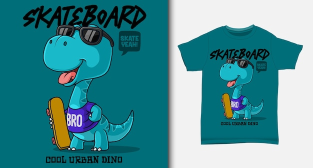 Dinosaur carrying a skateboard. with t-shirt design.