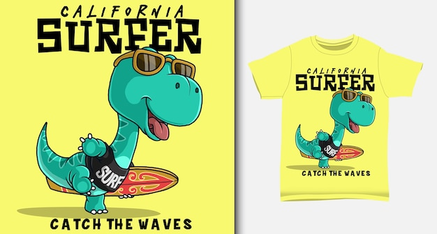 Dinosaur carrying a surfboard. with t-shirt design.