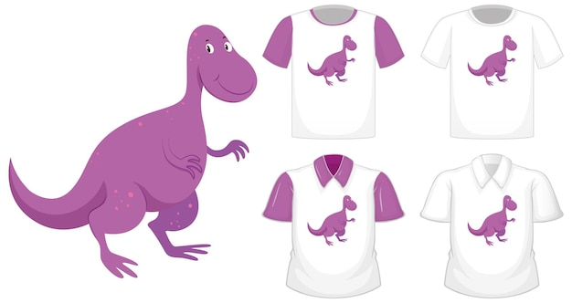Dinosaur cartoon character logo on different white shirt with purple short sleeves isolated on white background