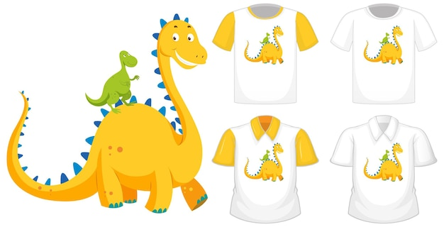 Dinosaur cartoon character logo on different white shirt with yellow short sleeves isolated on white background