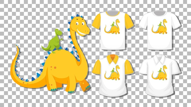 Dinosaur cartoon character with set of different shirts isolated on transparent background