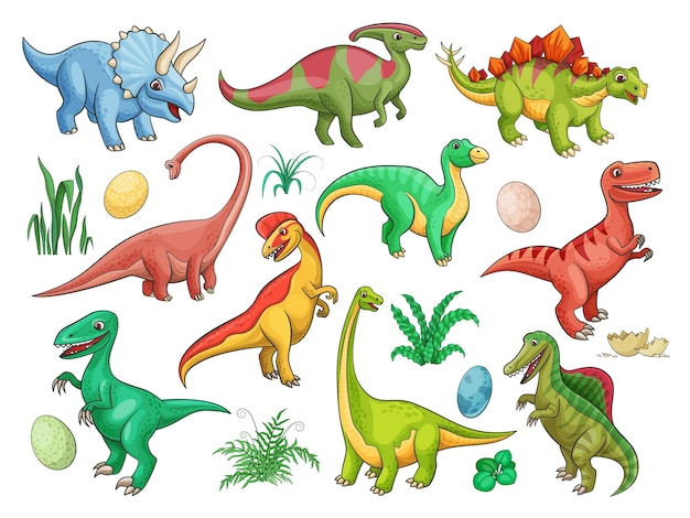 Dinosaur cartoon characters with cute baby dino animals and eggs