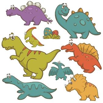 Сборник мультфильмов динозавров набор векторные иллюстрации Premium векторы