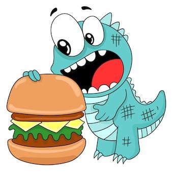 ハンバーガーを食べる恐竜の漫画。漫画イラストステッカー絵文字