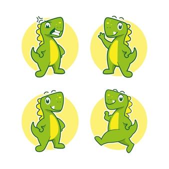 Dinosaur cartoon mascot sticker design