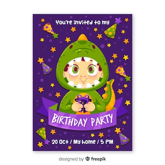 Dinosaur childrens birthday invitation template