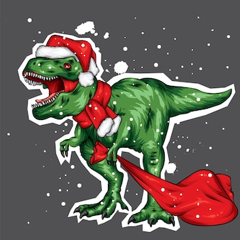 Dinosaur in a christmas hat and scarf.