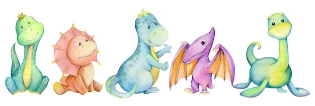 공룡 클립 아트. 고대의 다채로운 귀여운 동물의 수채화 그림