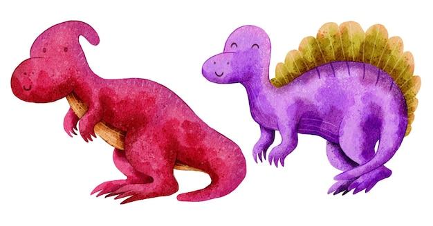 Динозавр милый дизайн иллюстрация с акварелью