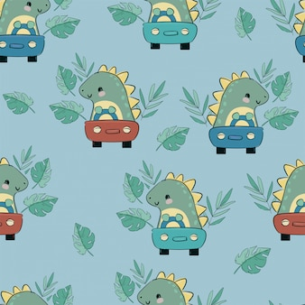 恐竜かわいい乗り物車の幼稚な子供イラストテキスタイルシームレスパターンベクトルの印刷