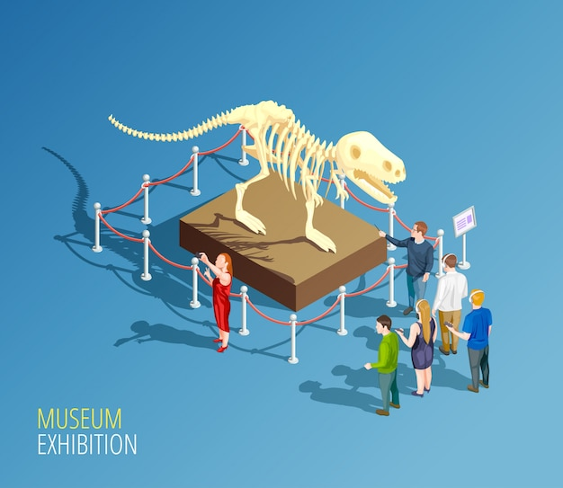 Dinosaur exhibition background composition