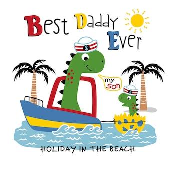 해변에서 공룡 가족 재미 있는 동물 만화