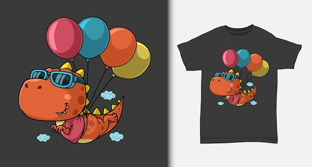 Dinosaur flying with balloon with tshirt design