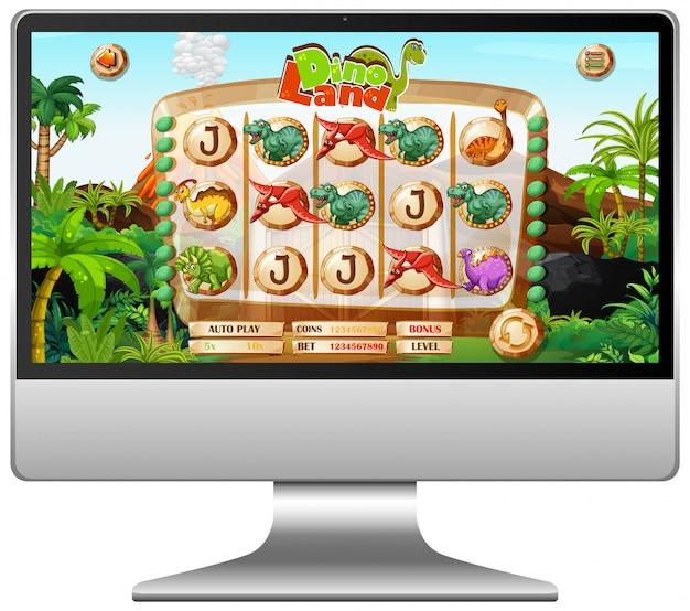 Игра динозавров на экране компьютера