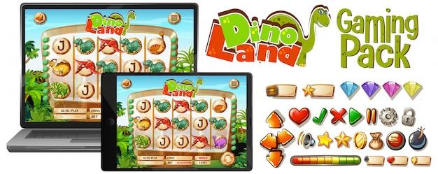 ノートパソコンの画面上の恐竜ゲーム
