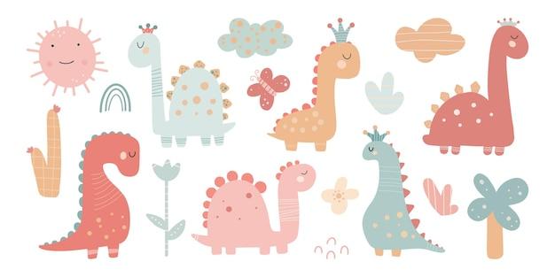 Милый набор динозавров для девочек с растениями, деревьями, камнями, простое искусство для детской для девочки, милый принт