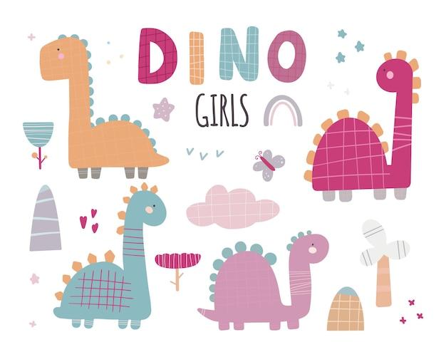 Милый векторный набор девочек-динозавров с растениями, деревьями, камнями в модных цветах