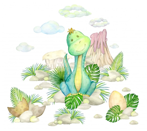 Dinosaur green, volcano, clouds, leaves and rocks. watercolor drawing of a prehistoric world on an isolated background.