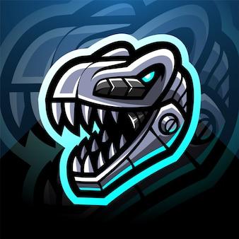 恐竜の頭ロボットeスポーツマスコットロゴデザイン