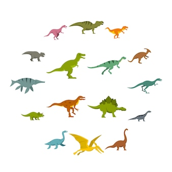 Dinosaur icons set in flat style