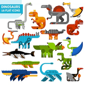 Dinosaur icons set