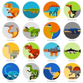 Dinosaur icons set