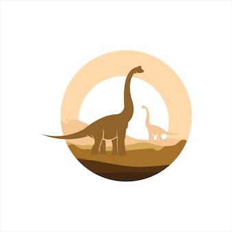 Dinosaur illustration brachiosaurus vector art ancient gigantic animal graphic element