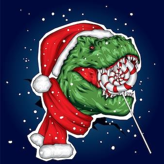 Динозавр в рождественской шапке, шарфе и конфете.