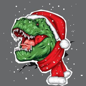 Динозавр в новогодней шапке и шарфе.