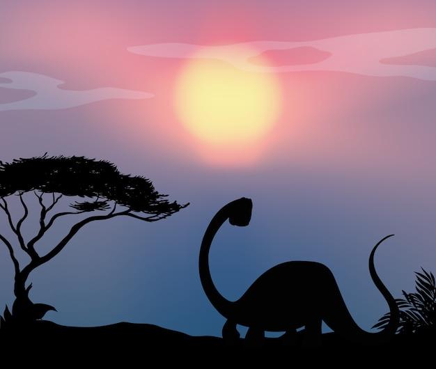 自然の中の恐竜
