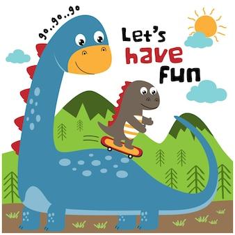 恐竜は楽しい面白い動物の漫画を持っています