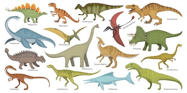 Динозавр изолированных мультфильм установить значок. мультфильм набор иконок динозавров.
