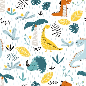 Dinosaur jungle pattern