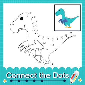 Дети-динозавры соединяют рабочий лист с точками для детей, считающих от 1 до 20 фалькариус