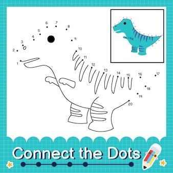 Дети-динозавры соединяют рабочий лист с точками для детей, считающих от 1 до 20 игуанодон