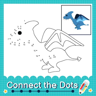 Дети-динозавры соединяют рабочий лист с точками для детей, считающих от 1 до 20 птеродактиль