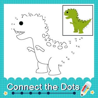 Дети-динозавры соединяют рабочий лист с точками для детей, считающих от 1 до 20 the trex