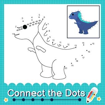 Дети-динозавры соединяют рабочий лист с точками для детей, считающих числа от 1 до 20 the yinlong