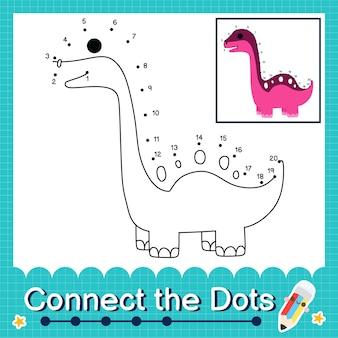 Дети-динозавры соединяют рабочий лист с точками для детей, считающих от 1 до 20 зигонгозавр
