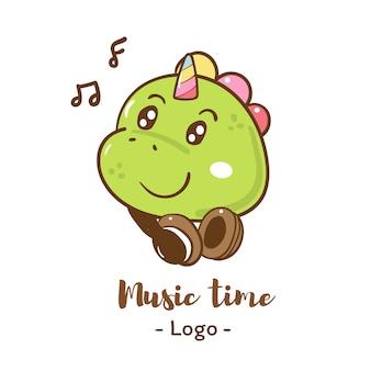 Dinosaur listening music logo
