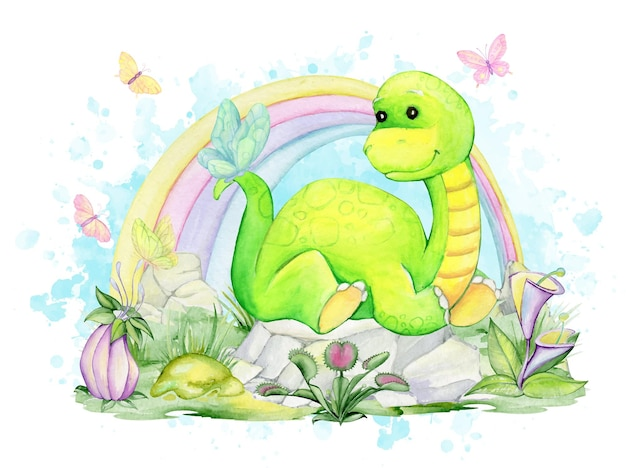 A dinosaur, lying on the rocks, against the background of a rainbow, butterflies. watercolors, clipart.