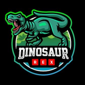 恐竜のマスコットeスポーツのロゴデザイン