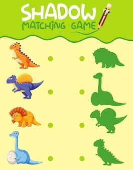 Dinosaur matching shadow game template