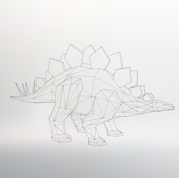 Dinosaur model vector illustration. polygon triangle. the structural grid of polygons. abstract creative concept vector background. polygonal design style letterhead and brochure.