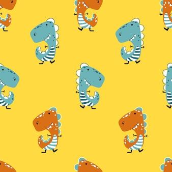Динозавр на желтом фоне. бесшовные модели в смешном детском мультяшном стиле рисованной
